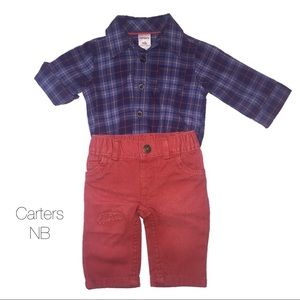 Carters Navy Orange Plaid Button Up Set NB